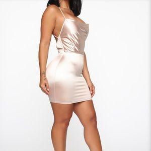 Fashion Nova Satin Champagne dress